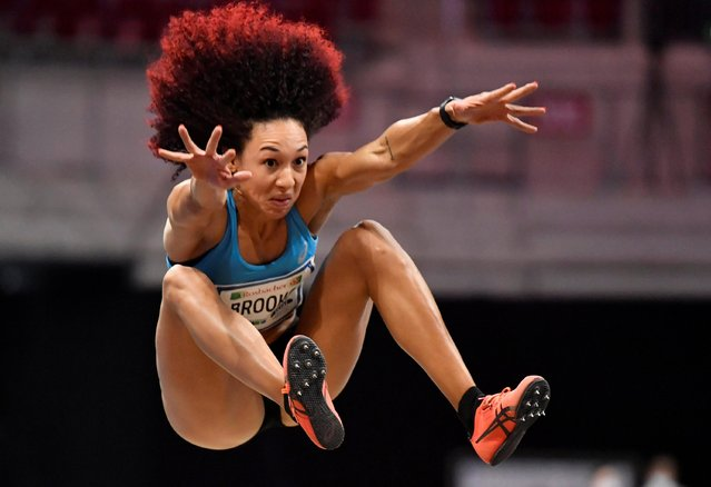 Taliyah Brooks of the United States competes in women's long jump during the ISTAF indoor athletics meeting in Dusseldorf, Germany Sunday, January 31, 2021. (Photo by Martin Meissner/Reuters)