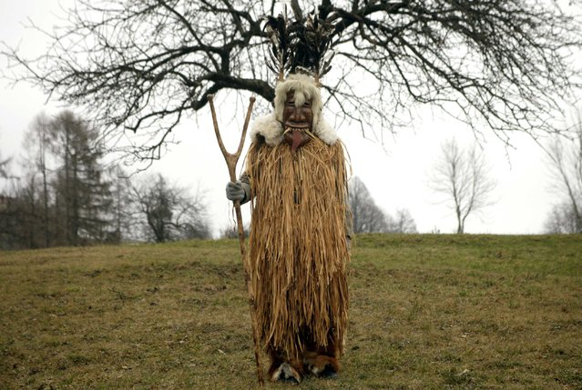 """A member of the Liski Pustje Ethnological Society dressed in a native mask and costume named """"Bajer"""" poses ahead of the Carnival in Kanal ob Soci January 14, 2015. (Photo by Srdjan Zivulovic/Reuters)"""