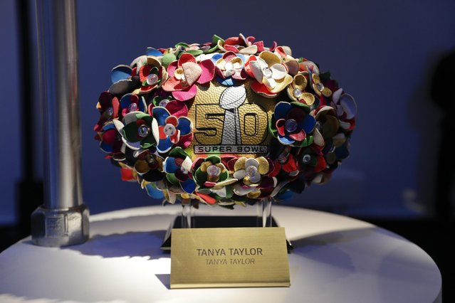 A Tanya Taylor designed football is displayed at the unveiling of the CFDA Footballs Wednesday, January 20, 2016, at the NFL headquarters in New York. (Photo by Frank Franklin II/AP Photo)