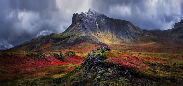 The Lady of Snæfellsnes, Iceland, by Timothy Moon. A mountain with a human-like form on the Snæfellsnes peninsula, western Iceland, in vivid autumn colours. Honourable mention, the Beauty of Nature category. (Photo by Timothy Moon/SIPA Contest)