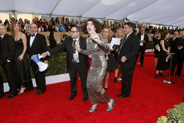 Actress Gaby Hoffmann runs down the carpet at the 22nd Screen Actors Guild Awards in Los Angeles, California January 30, 2016. (Photo by Mike Blake/Reuters)