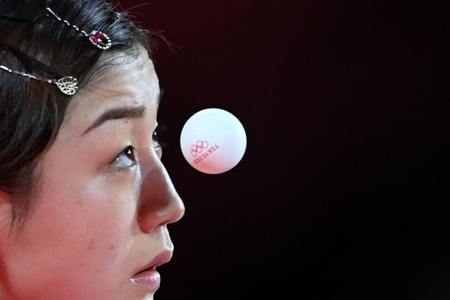 China's Chen Meng competes during her women's team semifinal table tennis match at the Tokyo Metropolitan Gymnasium during the Tokyo 2020 Olympic Games in Tokyo on August 4, 2021. (Photo by Adek Berry/AFP Photo)