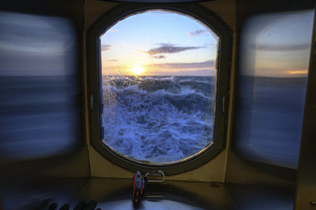 This November 8, 2019, photo provided by John Guillote shows a view from the main lab of the Sikuliaq in the Chukchi Sea. University of Washington scientists onboard the research vessel are studying the changes and how less sea ice will affect coastlines, which already are vulnerable to erosion because increased waves delivered by storms. More erosion would increase the chance of winter flooding in villages and danger to hunters in small boats. (Photo by John Guillote via AP Photo)