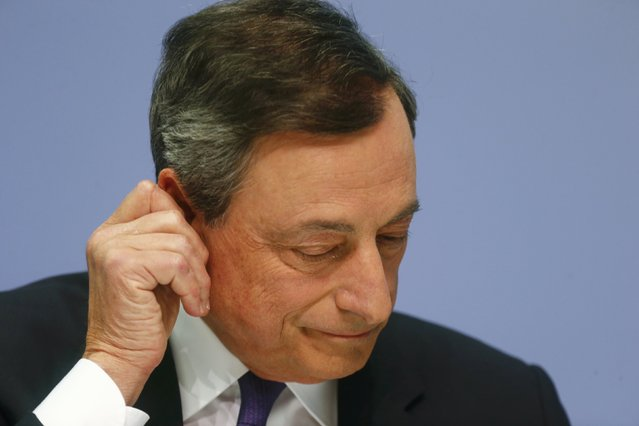 European Central Bank President Mario Draghi speaks at a news conference in Frankfurt, April 15, 2015. (Photo by Ralph Orlowski/Reuters)