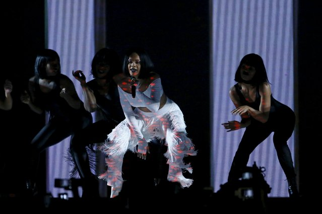 Rihanna performs at the BRIT Awards at the O2 arena in London, Britain, February 24, 2016. (Photo by Stefan Wermuth/Reuters)