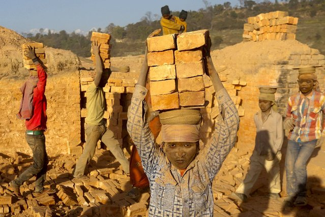 More than three-quarters of child laborers work in agriculture, which may expose them to occupational safety risks including dangerous machinery and tools, heavy loads, and harmful pesticides. (Photo by Narendra Shrestha/EPA)