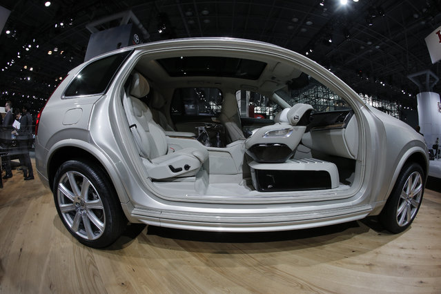 The interior of the 2017 Volvo XC90 T6 is seen during the media preview of the 2016 New York International Auto Show in Manhattan, New York on March 24, 2016. (Photo by Brendan McDermid/Reuters)