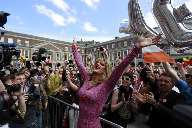 Same-s*x marriage supporter Panti Bliss reacts at Dublin Castle in Dublin, Ireland May 23, 2015. Irish voters appear to have voted heavily in favour of allowing same-s*x marriage in a historic referendum in the traditionally Catholic country, government ministers and opponents of the bill said on Saturday. (Photo by Cathal McNaughton/Reuters)