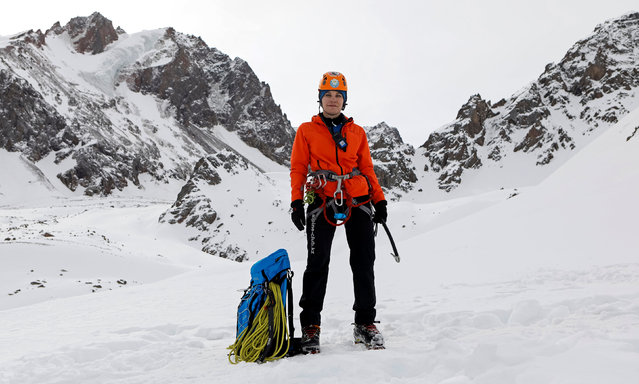 """Julia Argunova, 36, a mountaineering instructor, poses at 3,200 meters (10,499 feet) above sea level in the Tien Shan mountains near Almaty, Kazakhstan, February 17, 2017. """"Physical strength benefits male colleagues in some situations on harder routes. But, women are more concentrated and meticulous. In general, women are better at teaching. My main professional task is to teach safe mountaineering"""". (Photo by Shamil Zhumatov/Reuters)"""