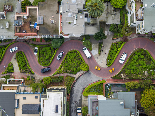 Vehicles negotiate a series of dramatic hairpin turns along San Franciscos Lombard Street – one of the crookedest lanes in the world. (Photo by Chase Guttman/Caters News)