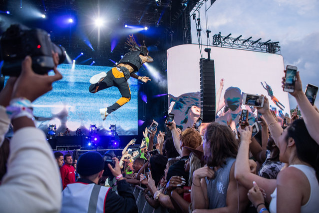 Swae Lee of Rae Sremmurd performs on stage during Wireless Festival 2019 on July 07, 2019 in London, England. (Photo by Scott Garfitt/Shutterstock)