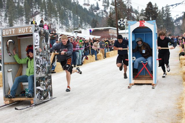 One thing not in short supply for fans and athletes at the annual Outhouse Races in rural Washington state: Porta Potties. (Photo by Sol Neelman)