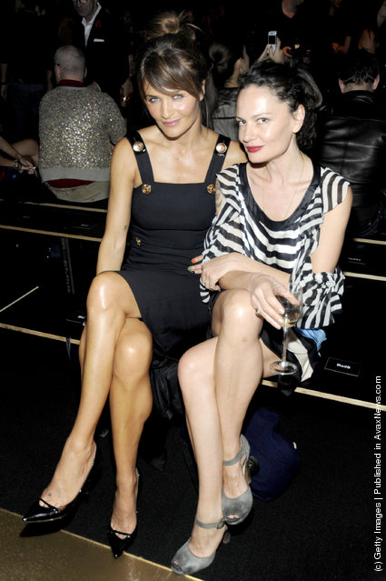 Helena Christensen and guest attend the Versace for H&M Fashion event