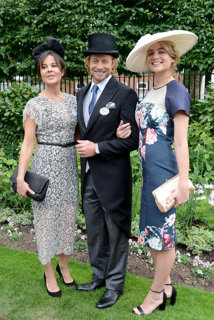 ASCOT, ENGLAND - JUNE 17:  Actor Simon Baker with his wife Rebecca Rigg (L) and daughter Stella attend Royal Ascot 2015 at Ascot racecourse on June 17, 2015 in Ascot, England.  (Photo by Kirstin Sinclair/Getty Images for Ascot Racecourse)