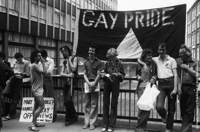 1977: Members of the Gay Liberation Movement protesting outside the Old Bailey over Mary Whitehouse's court action against the Gay News Magazine