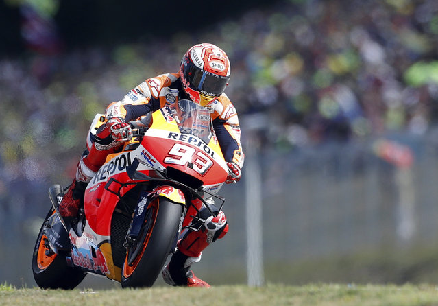 Spain's rider Marc Marquez of the Repsol Honda Team steers his motorcycle during the MotoGP race at the Czech Republic motorcycle Grand Prix at the Automotodrom Brno, in Brno, Czech Republic, Sunday, August 4, 2019. (Photo by Petr David Josek/AP Photo)