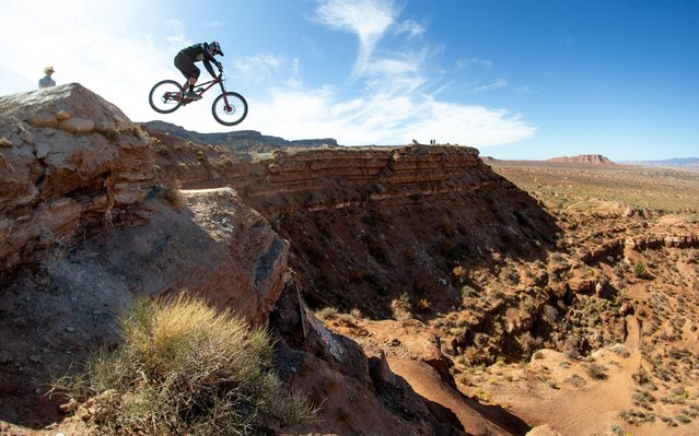 Kyle Strait during practice at Red Bull Rampage, an invitational only competition and the pivotal freeride mountain bike event in the world on October 23, 2019 in Virgin, Utah. (Photo by Daniel Milchev/Getty Images)