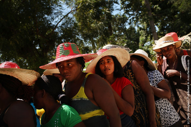 Haitian women march to celebrate United Nations International Women's Day on March 8, 2012 in Petit Goave, Haiti