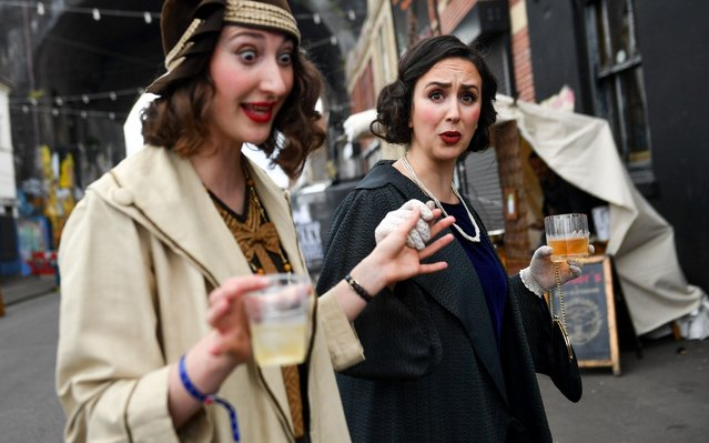 Actors recreate scenes on the streets of Digbeth during The Legitimate Peaky Blinders Festival 2019 at the Custard Factory on September 14, 2019 in Birmingham, England. (Photo by Jacob King/PA Wire Press Association)
