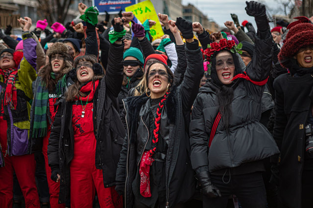 Participants in a Women's March rebuking Donald Trump and calling for climate action, reproductive justice and immigrants' rights in Washington DC, US on January 18, 2020. (Photo by Michael Nigro/Pacific Press via Zuma/Rex Features/Shutterstock)