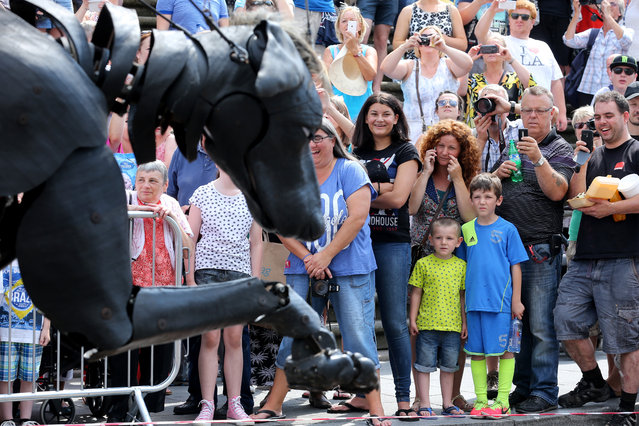 Crowds look on as Xolo the Giant Dog, one of the giant Royal De Luxe street puppets taking part in Liverpool's World War I centenary commemorations, walks through the streets of Liverpool on July 25, 2014 in Liverpool, England. (Photo by Christopher Furlong/Getty Images)