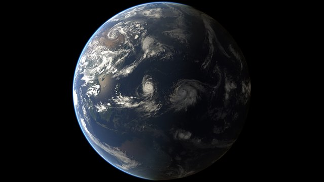 This handout satellite image released by Eumetsat on August 17, 2015 shows a composite image of Tropical Cyclones Goni and Atsani (formerly Tropical Depressions 16 & 17 respectively). (Photo by AFP Photo)