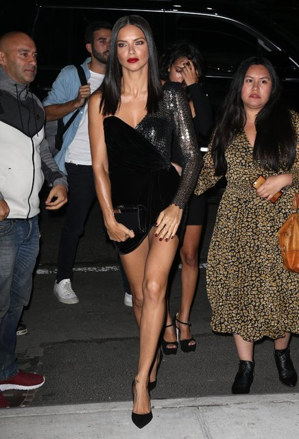 Adriana Lima arrives at the Mert Alas x Marcus Piggot book launch party at Public Hotelon September 7, 2017 in New York City. (Photo by Splash News and Pictures)