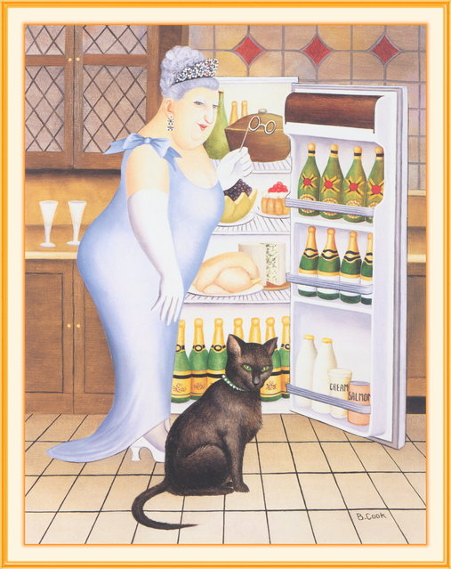Percy at the Fridge. Artwork by Beryl Cook