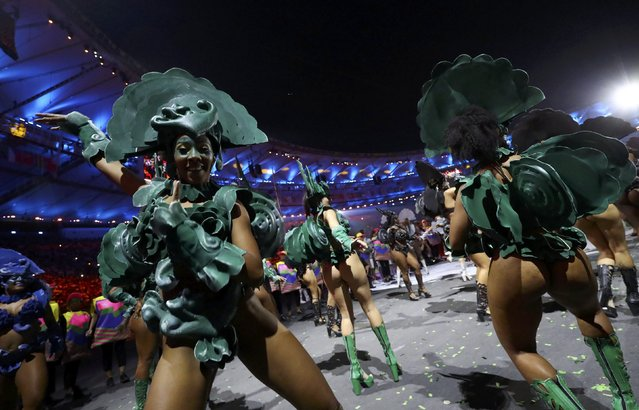 2016 Rio Olympics, Opening ceremony, Maracana, Rio de Janeiro, Brazil on August 5, 2016. Performers take part in the opening ceremony. (Photo by Kai Pfaffenbach/Reuters)