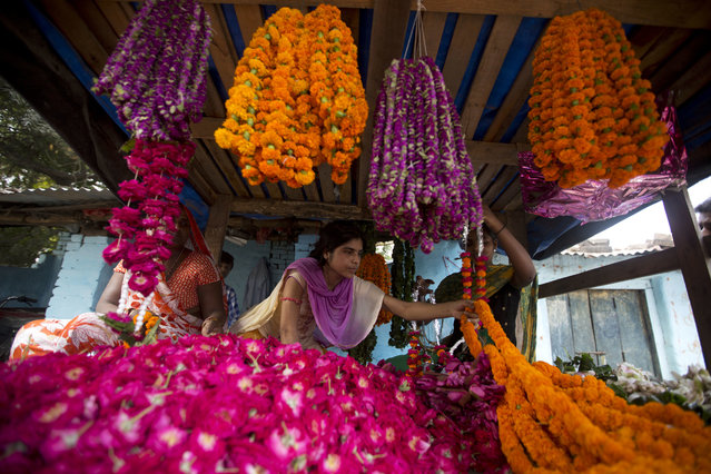 Vendors sell marigold flower garlands, commonly used to decorate homes and perform rituals, during Diwali festival in Allahabad, India, Thursday, October 19, 2017. (Photo by Rajesh Kumar Singh/AP Photo)