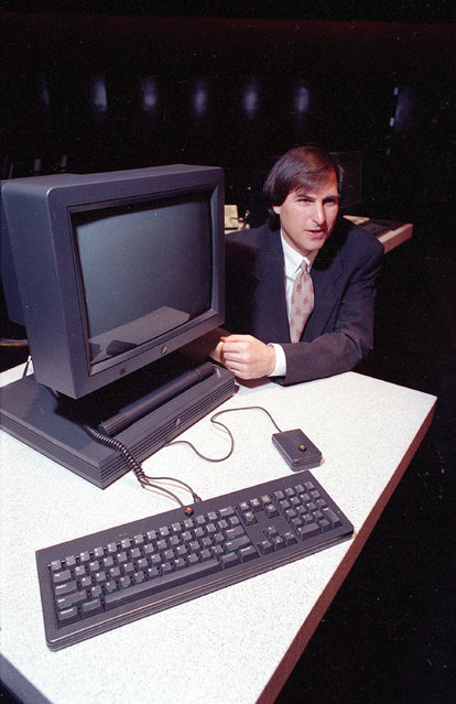 Steven P. Jobs, the president and CEO of NeXT Computer Inc., shows off his company's new NeXTstation, after an introduction to the public in San Francisco, Calif., on September 18, 1990. (Photo by Eric Risberg/AP Photo)