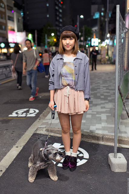 Harajuku Dog Walker. A friendly girl walking her cute dog in Harajuku after dark. (Tokyo Fashion)