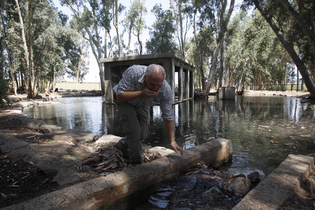 Ramon Ben Ari, head of Israel's Southern Jordan Drainage Authority, drinks water from a rehabilitated biblical spring in the Valley Springs near the Jordan River July 16, 2012. (Photo by Baz Ratner/Reuters)