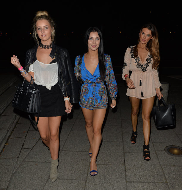 Tina Stinnes, Cally Jane Beech and Nancy May seen leaving skybar after watching a boxing match on September 04, 2016 in London, England. (Photo by Eagle Lee/Barcroft Images)