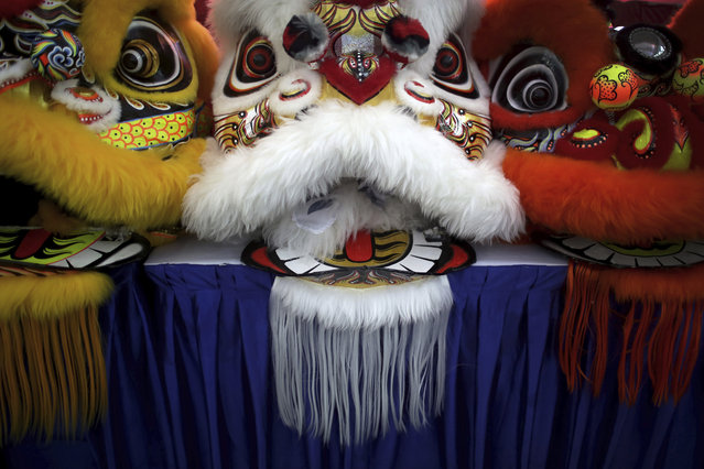 In this Friday, February 2, 2018, photo, the lion heads of costumes are lined up on stage during the 11th International Lion Dance Competition in Singapore. This lion dace competition is usually held in a lead up to the Chinese Lunar New Year celebrated in Singapore. Lion dance is a traditional dance in Chinese culture and some other Asian countries in which performers from a lion dance troupe will mimic a lion's movements while dressed in a lion's costume. This is believed to bring fortune and luck. These performers from Vietnam, Singapore, Myanmar, Indonesia, Hong Kong, Taiwan and Malaysia gathered in Singapore to compete against one another and are judged on their skill, grace and musicality amongst other things. (Photo by Wong Maye-E/AP Photo)