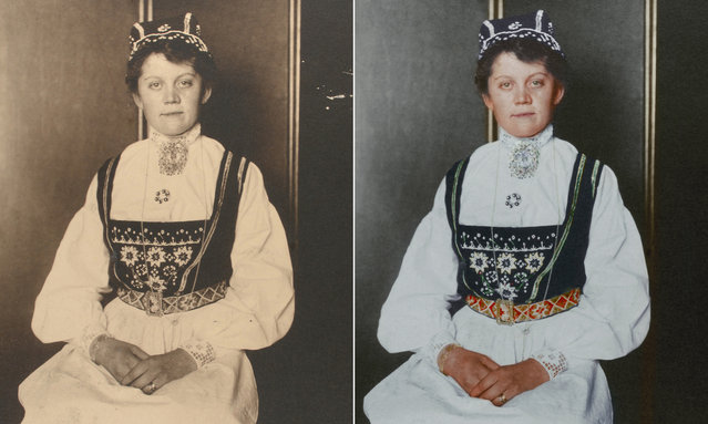 A Norwegian woman wearing traditional dress with a hair covering to indicate her marital status. (Photo by Augustus Francis Sherman/New York Public Library/The Guardian)