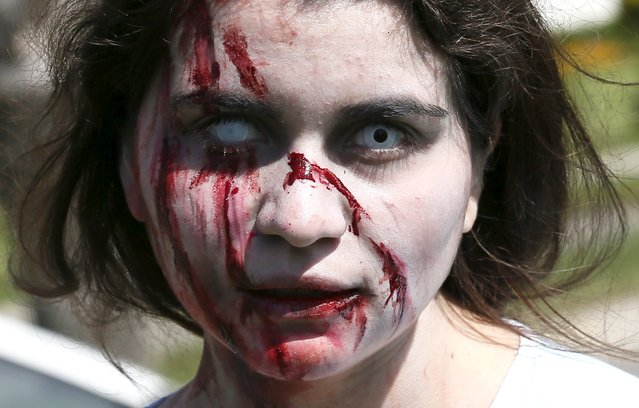 A reveller takes part in a zombie parade to celebrate Halloween in Vina del Mar,  October 31, 2015. (Photo by Rodrigo Garrido/Reuters)