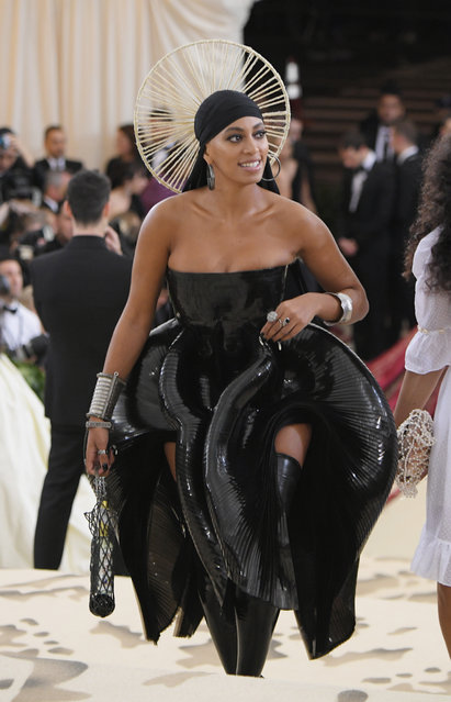 Solange Knowles attends the Heavenly Bodies: Fashion & The Catholic Imagination Costume Institute Gala at The Metropolitan Museum of Art on May 7, 2018 in New York City. (Photo by Mike Coppola/MG18/Getty Images for The Met Museum/Vogue)