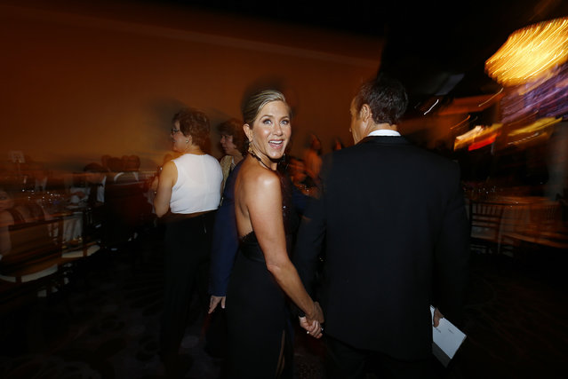 Jennifer Aniston smiles at the 72nd Golden Globe Awards in Beverly Hills, January 11, 2015. (Photo by Mike Blake/Reuters)