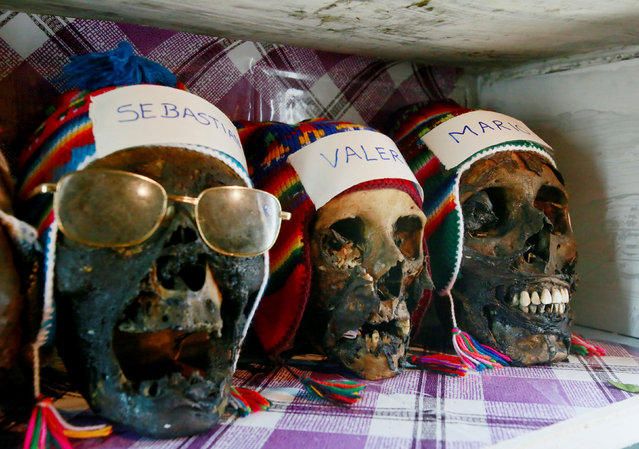 Skulls are seen at a witch doctor workplace before the celebrations of The Day of Skulls in El Alto, on the outskirts of La Paz, Bolivia, November 7, 2016.Picture taken November 7, 2016. (Photo by David Mercado/Reuters)