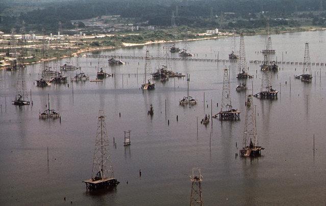 Off-shore oil wells in Galveston Bay, June 1972. (Photo by Blair Pittman/NARA via The Atlantic)