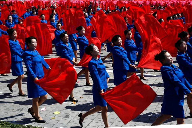 Performers take part in a parade for the 70th anniversary of North Korea's founding day in Pyongyang, North Korea, Sunday, September 9, 2018. (Photo by Ng Han Guan/AP Photo)