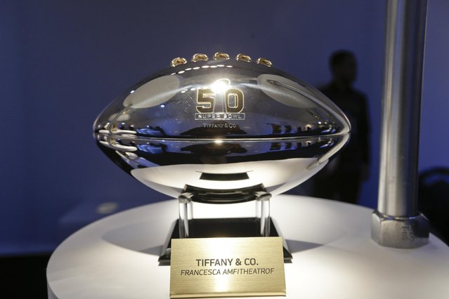 A Tiffany & Co. football is presented at the displayed of the CFDA Footballs Wednesday, January 20, 2016, at the NFL headquarters in New York. (Photo by Frank Franklin II/AP Photo)
