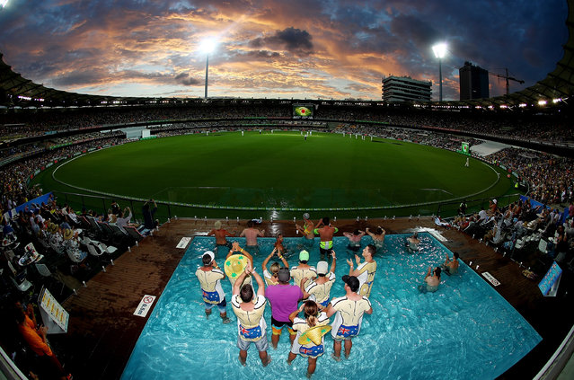 Fans enjoy the pool deck during day two of the First Test match between Australia and Pakistan at The Gabba on December 16, 2016 in Brisbane, Australia. (Photo by Chris Hyde – CA/Cricket Australia/Getty Images)