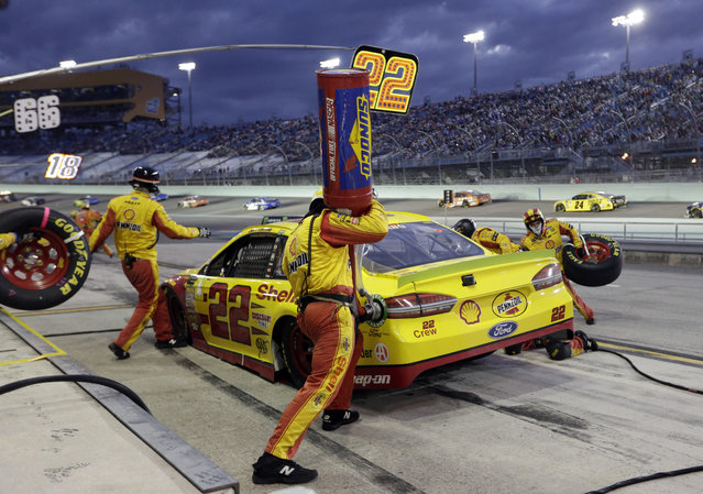 Joey Logano (22) makes a pit stop during the NASCAR Cup Series championship auto race at Homestead-Miami Speedway, Sunday, November 18, 2018, in Homestead, Fla. (Photo by Lynne Sladky/AP Photo)