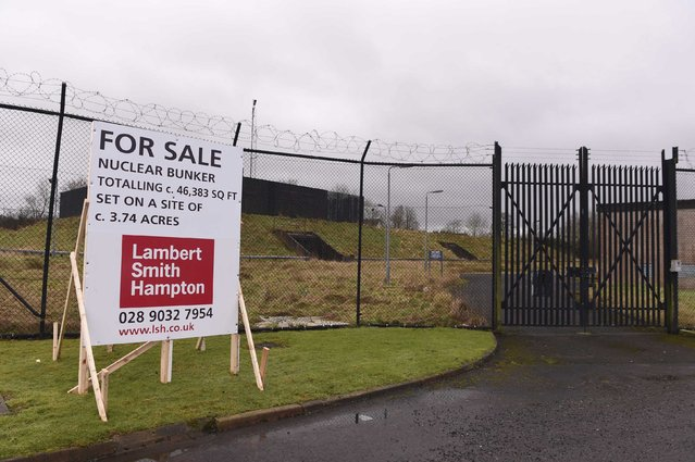 TThe entrance and for sale sign are seen outside a former Regional Government HQ Nuclear bunker built by the British government during the Cold War which  has come up for sale in Ballymena, Northern Ireland on February 4, 2016. (Photo by Clodagh Kilcoyne/Reuters)