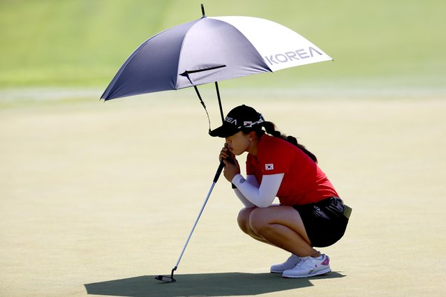 Kim Sei Young of South Korea looks on in womens golf individual stroke play during the Tokyo 2020 Olympic Games at the Kasumigaseki Country Club in Kawagoe on August 6, 2021. (Photo by Murad Sezer/Reuters)