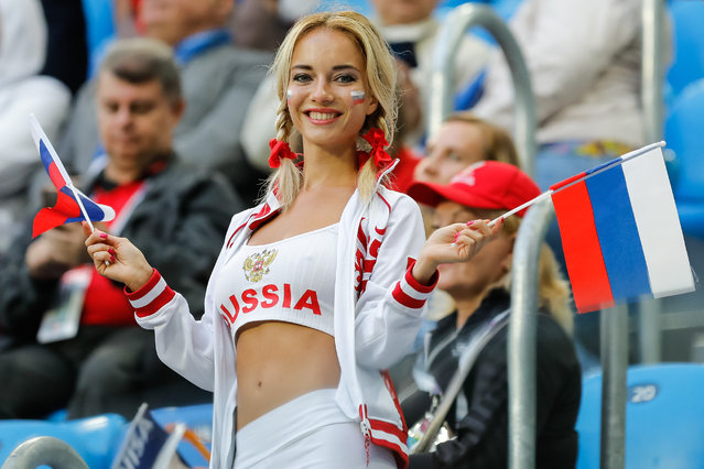 Russia supporter during the 2018 FIFA World Cup Russia group A match between Russia and Egypt on June 19, 2018 at Saint Petersburg Stadium in Saint Petersburg, Russia. (Photo by Mike Kireev/NurPhoto via Getty Images)
