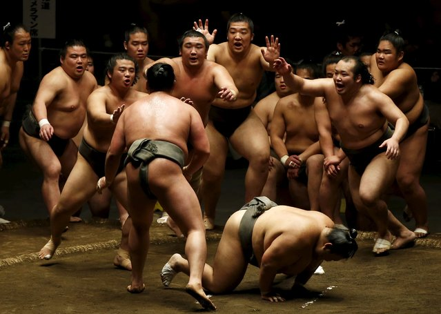 Sumo wrestlers of Nishonoseki clan appeal to the winner of a training bout for the next opponent during a joint training session ahead of the May Grand Sumo Tournament in Tokyo May 2, 2015. (Photo by Toru Hanai/Reuters)