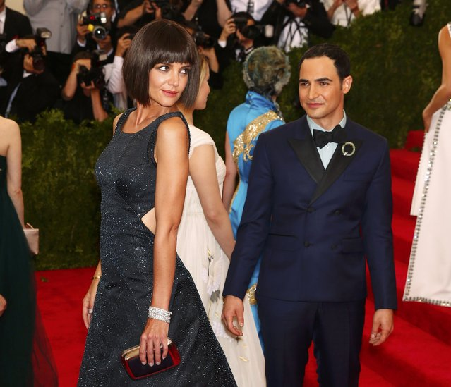 "Katie Holmes and Zac Posen arrives at the Metropolitan Museum of Art Costume Institute Gala 2015 celebrating the opening of ""China: Through the Looking Glass"" in Manhattan, New York May 4, 2015. (Photo by Lucas Jackson/Reuters)"